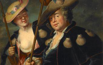 Couple costumé en pèlerin et en lingère